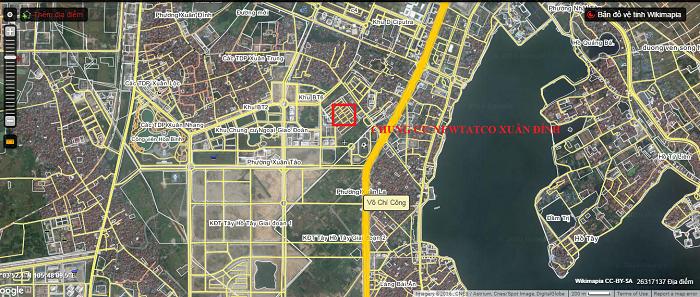 ảnh chụp vệ tinh vị trí dự án kosmo tây hồ hà nội