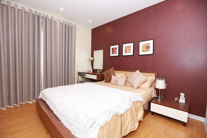 Phòng ngủ ại căn hộ cao cấp goldsilk complex mang được bố trí rất hợp lý