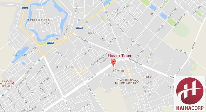 Ảnh vị trí chung cư Phoenix Tower Bắc Ninh chụp bản đồ maps