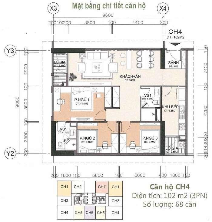 ảnh thiết kế căn hộ 96m2 chung cư a10 Nam Trung Yên Cầu Giấy