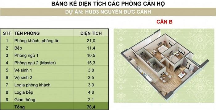 ảnh thiết kế chung cư hud3 nguyễn đức cảnh loại B