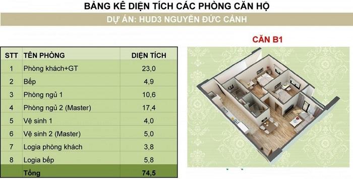 ảnh 3d thiết kế căn hộ b1 chung cư hud3 nguyễn đức cảnh