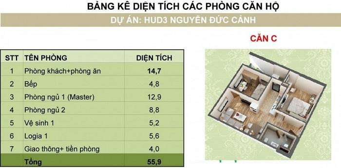 ảnh 3d thiết kế căn hộ chung cư hud3 nguyễn đức cảnh loại C