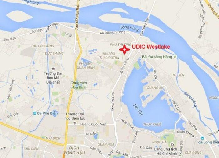 Ảnh chụp bản đồ maps vị trí chung cư udic westlake tây hồ