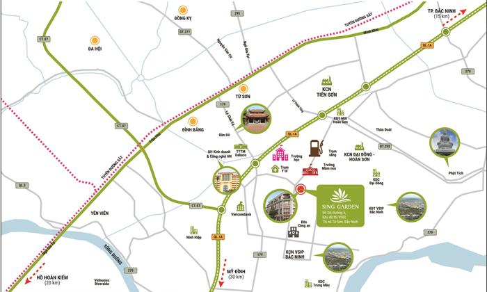Ảnh vị trí dự án DTA Bắc Ninh Garden House - Vsip Từ Sơn