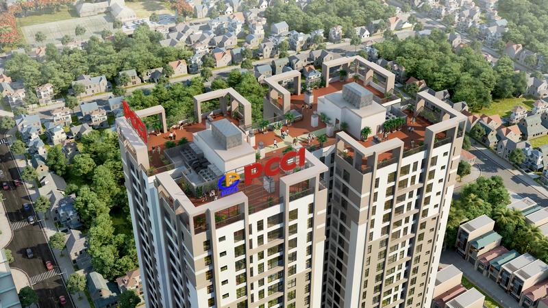 Phối cảnh tầng mái sân vườn PCC1 Thanh Xuân