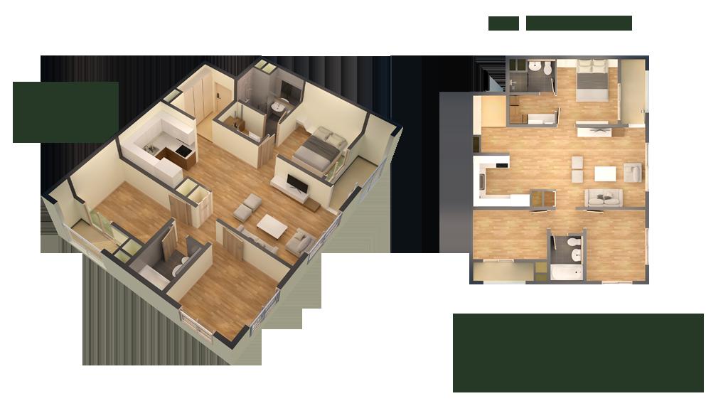 căn hộ thiết kế loại 3 ngủ 88m2
