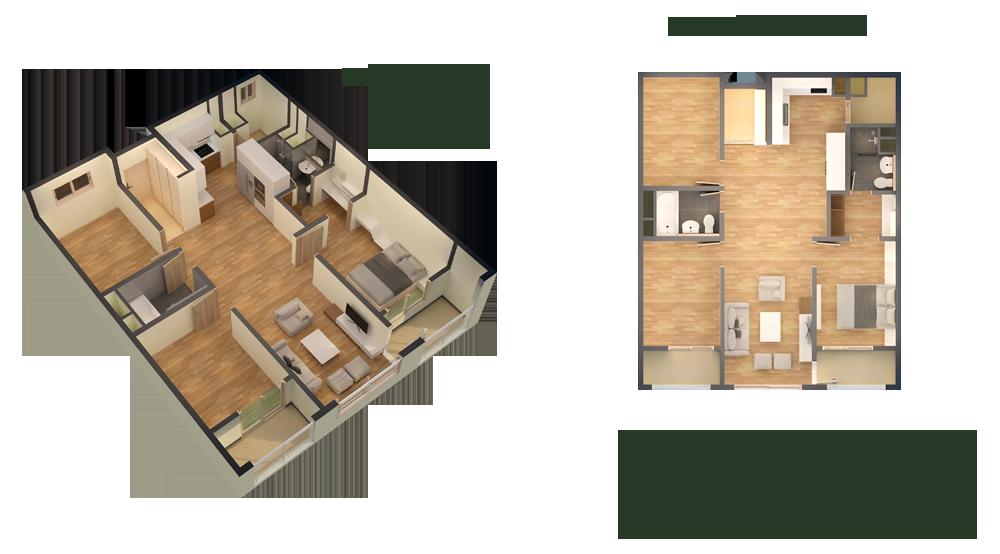 căn hộ thiết kế loại 95m2 3 phòng ngủ