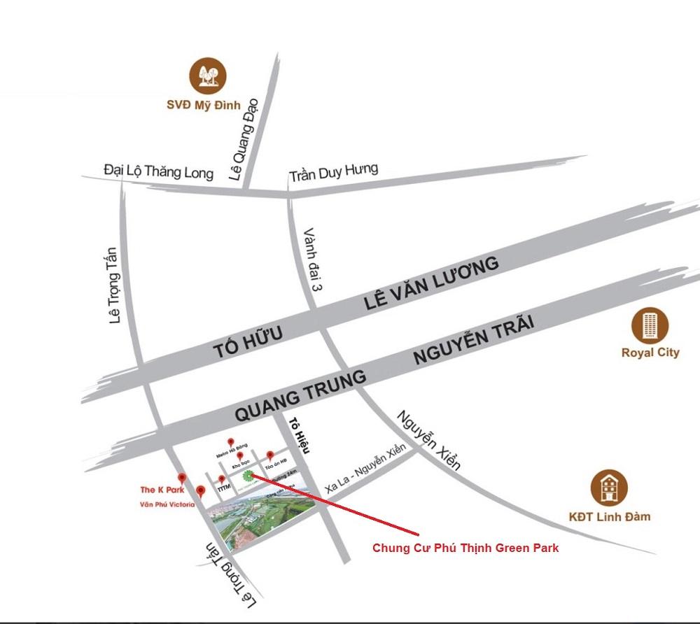 Vị trí Chung Cư Phú Thịnh Green Park - HTV Complex