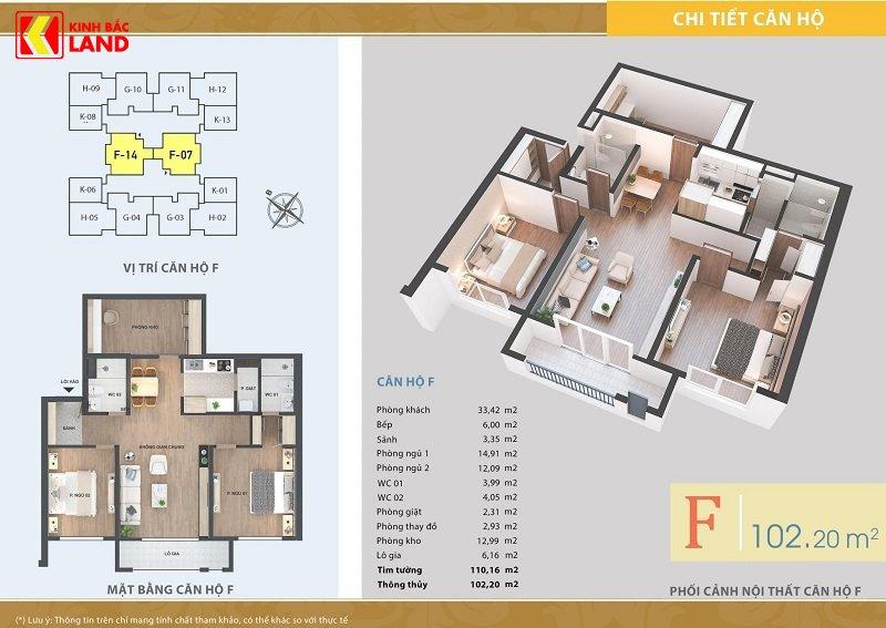 Thiết kế căn hộ 102m2 chung cư ariyana lakeside.