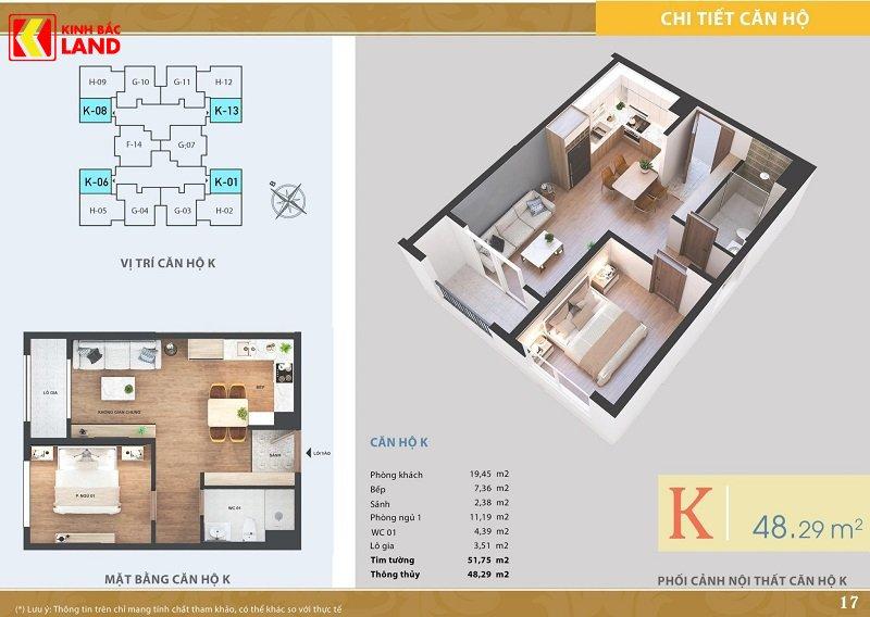 Thiết kế căn hộ 48m2 chung cư ariyana lakeside.