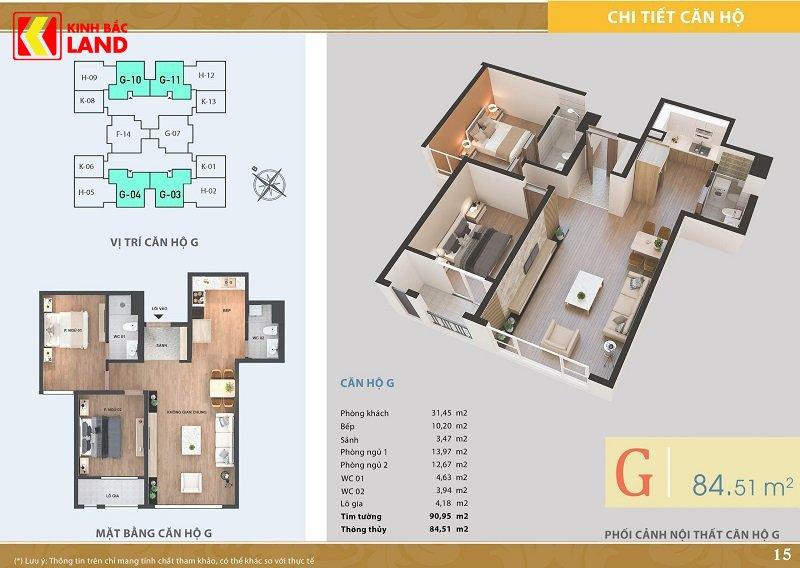 Thiết kế căn hộ 84m2 chung cư ariyana lakeside.