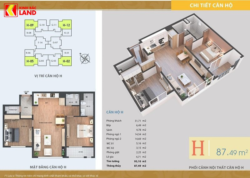 Thiết kế căn hộ 87m2 chung cư ariyana lakeside
